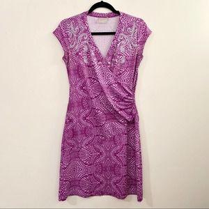 ATHLETA Paisley Nectar Cap Sleeve Faux Wrap Dress